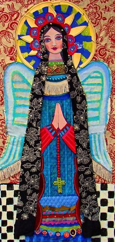 Mexican folk art Angel//note to self.style, colors, for custom ultima cena. Also search 'mexican folk art painting' Religious Icons, Religious Art, Madonna, I Believe In Angels, Colorful Roses, Mexican Folk Art, Angel Art, Art Graphique, Naive Art