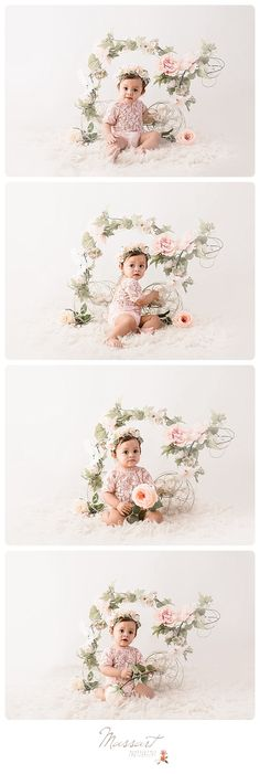 One year milestone studio photo shoot; first birthday cake smash; girly portrait session with flowers, crown and lace romper   Photo by Massart Photography of RI   www.massartphotography.com; info@massartphotography.com
