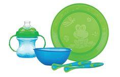 Set de vajilla Fun Feeding. Color Azul/Verde | 9+ meses