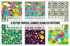 Tropical Summer Patterns. Drawing Art Background, Wall Art, Summer Clipart, Vacation Digital Image. Travel Vector