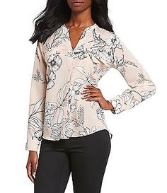 8d623dccd41665 Calvin Klein Sketched Floral Print Long Roll-Tab Sleeve Blouse Dillards,  Work Clothes,