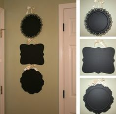 cheap serving trays (got some from the dollar store) and chalkboard paint (5$ spray paint at pat catan's). cute for the apartment :)