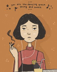 Dating a glass of milky lemon and listening to the music. #doodle #illustration #artwork #girls #smoke #shorthair