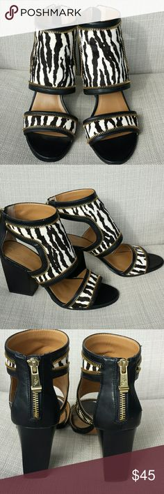 """Report Signature Bennet Zebra Print Sandals Excellent condition. Open toe and zippers up the back. Black and white zebra print with gold accents. 3 1/2"""" stacked heel. Report Signature Shoes Heels"""