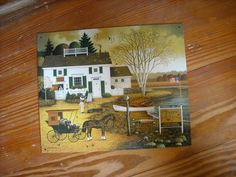 primitive country hand painted Amish picture wall decor folk art ...