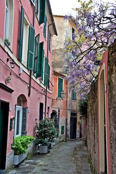 monterosso street in northern italty.