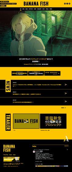 TVアニメ「BANANA FISH」公式サイト Web Design, Game Ui Design, Graphic Design, Web Layout, Layout Design, Ui Web, Web Inspiration, Type Setting, Mobile Design