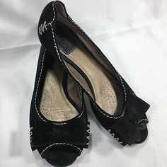491a20185f47 Clarks Artisan Open Peep Toe Loafer Moccasin Black Suede Leather Bow Size 7  M
