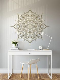 Exceptional boho bedroom are available on our site. look at this and you wont be sorry you did. Lotus Mandala, Indian Mandala, Gym Room At Home, Buddhist Symbols, Textured Walls, Decor Ideas, Home Decor, Bedroom Wall Decals, Bedroom Rugs