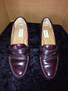 G.H. Bass & Co. Burgundy Cordovan Leather Penny Loafer Size 10.5D Made in Brazil #GHBassCo #LoafersSlipOns
