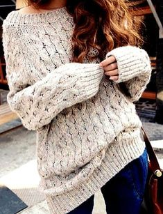 chunky oversized sweater - fall outfit ....would be cute with leggings ////nooo leggings Big Sweaters, Chunky Sweaters, ...