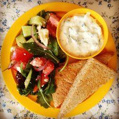 greek salad, tzatziki & flat bread
