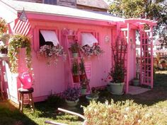 Garden Shed│Living Beautifully Pink Houses, Little Houses, Dream Houses, Pink Love, Pretty In Pink, Bright Pink, Pink Palace, I Believe In Pink, Shabby Chic