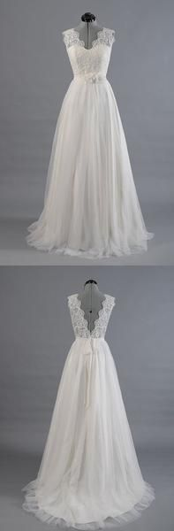 V-Back Lace Top Simple Wedding Dresses,lace wedding dress,bridal gowns Processing time: 15-25 business days Shipping Time: 3-5 business days Material: Lace Shown Color: refer to image Hemline: Floor-length Back Details: Zipper-up Built-In Bra: Yes For Custom Size, Please leave foll