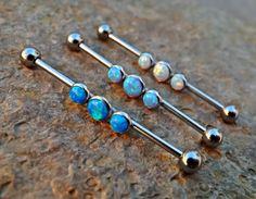 Fire Opal Industrial Barbell 14ga Surgical Steel Upper Earring Body Jewelry