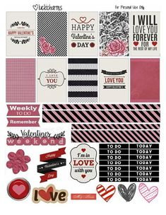 Free Printable Black and Pink Valentine's Planner Stickers from LuckiCharms