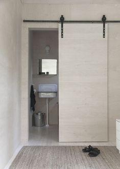Minna Jones: Sliding door with barn door fittings Door Design, Interior, Sliding Bathroom Doors, Door Fittings, Room Doors, Doors Interior, Home Decor, Modern Sliding Doors, Sliding Door Curtains
