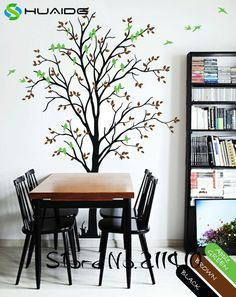 Spring Tree Wall Decals Large Tree With Birds Wall Stickers Home Decor Living Room Custom Color Vinyl Wall Tattoo Mural JW198A #Affiliate