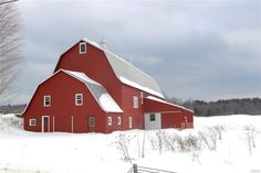 red barn, snow