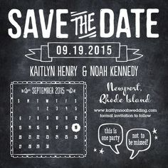 Chalkboard Save the Date Card