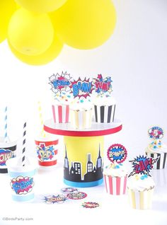 DIY Superhero Birthday Cupcake Stand - learn to craft this cake stand for your hero birthday party or table centerpiece, using printables!