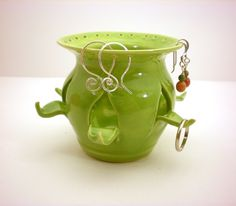 Mini Ceramic Jewelry Holder - Lime Green - Great Gift - Earring and RIng Holder.