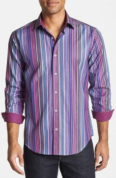 Bugatchi Shaped Fit Stripe Sport Shirt available at #Nordstrom