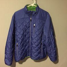 Lands End Women's Blue Primaloft Jacket Size 18-20 Like New Women's Lands End Blue Quilted Primaloft Jacket. Zip front. Zippered pockets. Green lining. Nice. No trades! Lands' End Jackets & Coats