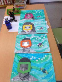 Un'idea per una attività estiva tratta dal web: i bambini dipingono il mare sott'acqua con un pesciolino sulla destra. A sinistra viene incollata una fotocopia ingrandita del viso del b…