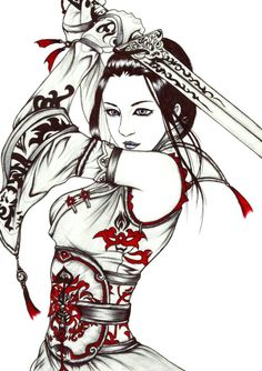 tattoo of geisha girl Art Geisha, Geisha Kunst, Geisha Drawing, Samurai Drawing, Samurai Anime, Female Samurai Tattoo, Samurai Warrior, Samurai Tattoo Sleeve, Geisha Tattoos