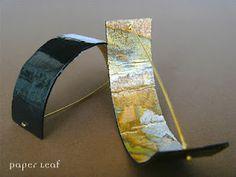 Half of gold   paper earrings   carta, orone   paper, faux golden leaf