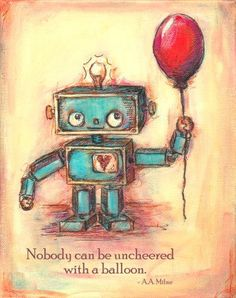 Robot's Red Ballon painting with quote or by JennyDaleDesigns, $23.00
