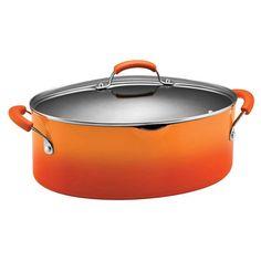 Rachael Ray Porcelain Enamel II 8 qt. Covered Oval Pasta Pot with Pour Spout Orange Gradient - 11707