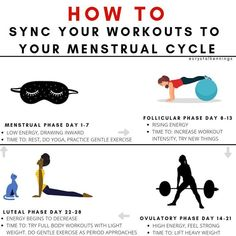 How to sync your workouts to your menstrual cycle So synchronisieren Sie Ihr Training mit Ihrem Menstruationszyklus The post So synchronisierst du dein Training mit deinem Menstruationszyklus & & Health And Wellness, Health Fitness, Holistic Nutrition, Period Hacks, Period Tips, Cycling Workout, Bike Workouts, Swimming Workouts, Swimming Tips