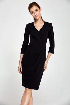 ef83d6d9219 Robe femme noire elegante chic manches 4 5 decollete V effet drape NIFE S91