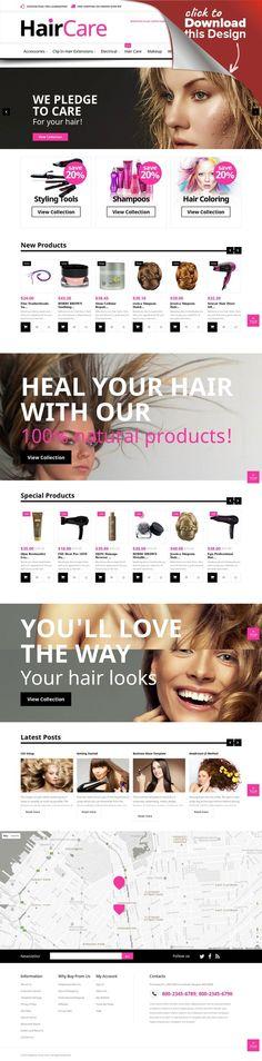 """Magento Theme namens """"Haarpflege"""" E-commerce Vorlagen, Magento Vorlagen, Mode und Schönheit, Schönheit Vorlagen   Magento Theme #52276 für Friseursalon . Dabei gibt es Zusatzfunktionen, Stockfotos und eine umfassende Dokumentation."""