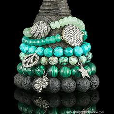 Wishing you Happy Friday with these beautiful green bracelets! Explore our website this weekend at www.designyoursparkle.com  #diamonds #diamondpave #silver #sterlingsilver #green #greenagate #turquoise #lava #greenjade #malachite #charm #charmbracelet #diamondpaveconnector #diamondbeads #bracelet #beads #beadbracelet #designyourown #designyoursparkle #madetoorder #tgif #friday #getcreative #beautiful