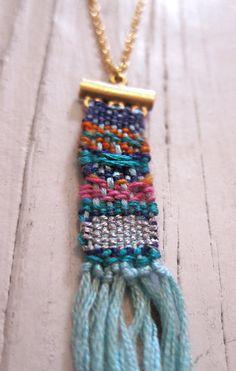 Gautemalan Style Woven Necklace hand woven fiber by RebeccaDaryl
