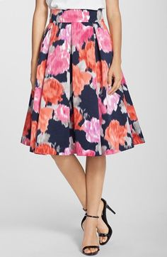 Eliza J Floral Print Faille Midi Skirt available at #Nordstrom