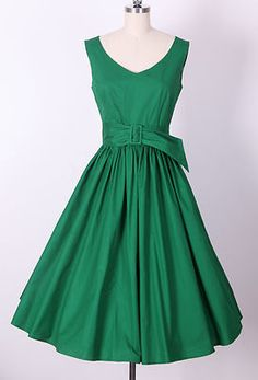 "pretty color 50s ""Audrey Hepburn"" Style Little Green Dress Size M Pinup Vintage Swing 