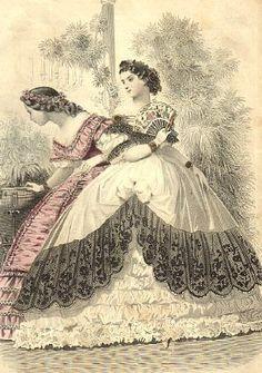 1862 - janvier - 2 robes de bal - les dentelles ornent le large volant - un peu plus de 8 m de circonférence ... la dentelle étant froncée.. imaginez un peu le coût d'une telle robe qui n'était souvent portée qu'une seule fois!! Victoria et Elizabeth