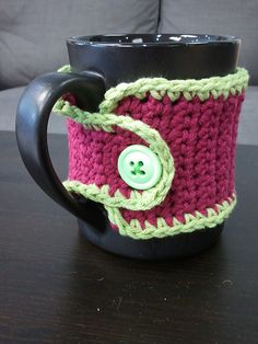 Mug Cozies - lots of pattern options on Ravelry, for both knitting and crochet.  Make a whole bunch, and turn that collection of random mugs into a matching set! ;)