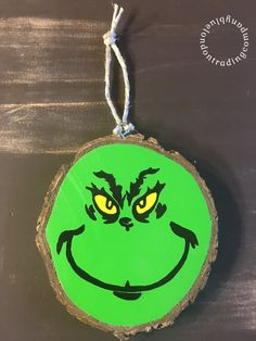 The Grinch Christmas Ornament painted on a Natural Wood Slice - Rustic Christmas - Repurposed Tree - Christmas - Handmade by BlueLondonTrading on Etsy