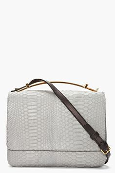 Marni Grey Gold-handled Python Leather Bag for women | SSENSE