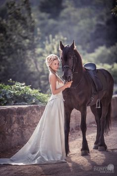 Bride with horse by