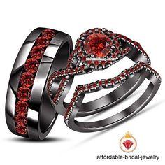 14k Black Gold Bridal Garnet Engagement Ring His and Her Trio Wedding Ring Set #Affoin8