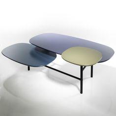Table basse 3 plateaux GUILLAUME DELVIGNE, la redoute 200  Dimensions totales L.140 x H.45 x P.90 cm.