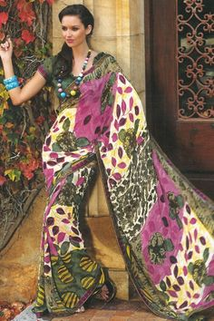 Traditional Printed Casual Saree; Thulian Pink and Cream Yellow Faux Georgette Printed Casual and Party Saree