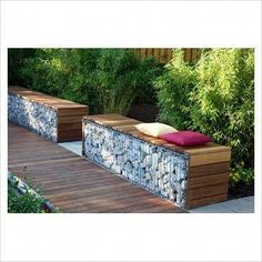 Contemporary Garden Seating Made Out Of Gabions.- Contemporary Garden Seating Made Out Of Gabions. Contemporary Garden Seating Made Out Of Gabions. Garden Seating, Garden Chairs, Outdoor Seating, Garden Furniture, Outdoor Spaces, Outdoor Living, Outdoor Decor, Contemporary Cottage, Contemporary Bedroom