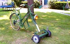 Bicycle lawnmower - I want one!